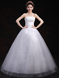 Ball Gown Wedding Dress - White Floor-length Strapless Tulle