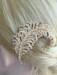 Wedding Headpiece 2.76 Inch Gold-tone Clear Rhinestone Crystal Leaf Bridal Hair Comb Bridal Hair Accessories