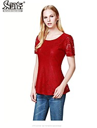 Mulheres Blusa Decote Redondo Manga Curta Renda Renda/Elastano Mulheres