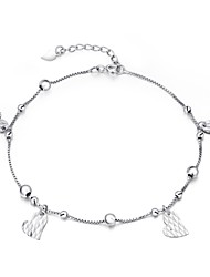 Cute/Party/Work/Casual Sterling Silver Link/Chain/Beaded/Cuff/Charm Bracelet Peach Heart Chain Summer Jewelry