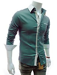 Camisa Casual ( Poliéster ) MEN - Casual Colarinho de Camisa - Manga Comprida