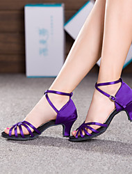 Non Customizable Women's Dance Shoes Latin Satin Cuban Heel Purple
