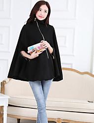 Women's A Coat Of Black Overcoat.