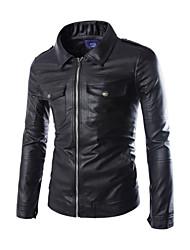 Men's  Double Pocket Artificial Leather  Motocyco Jacket