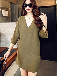 Women's Simple Sexy V Neck Solid  Knit Dress , Casual/Work ¾ Sleeve
