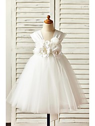 A-Line Knee Length Flower Girl Dress - Satin Tulle Sleeveless Straps with Flower