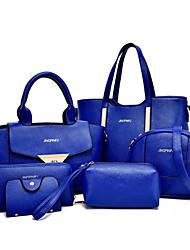 Feminino Couro Ecológico Formal / Casual / Trabalho & Escritório / Compras Bolsa de Ombro / Tote / Conjuntos de sacoBranco / Roxo / Azul