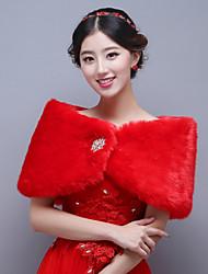 Envolturas de boda ( Rojo ) - Imitación Cashmere - Sin manga