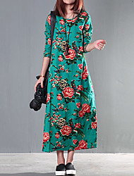 Women's Floral/Boho/Print/ Red/Green Dress , Casual/Print/Maxi/Plus Sizes Ethnic Print Long Sleeve(Linen/Cotton)