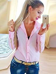 Chemise Femme,Couleur Pleine Décontracté / Quotidien / Grandes Tailles simple Automne Manches Longues Col de Chemise Rose / Blanc / Vert