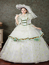 One-Piece/Dress Gothic Lolita Steampunk® / Victorian Cosplay Lolita Dress White / Green Print / Floral / Lace Long Sleeve Long Length Hat