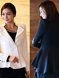 Y.F Women's Solid Color White / Black Coats & Jackets , Sexy / Bodycon Tailored Collar Long Sleeve