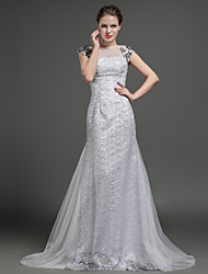 Sheath / Column Wedding Dress Sweep / Brush Train Jewel Lace / Tulle with Appliques