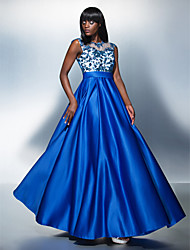 TS Couture® Formal Evening Dress Plus Size / Petite A-line Jewel Floor-length Tulle / Charmeuse with Appliques
