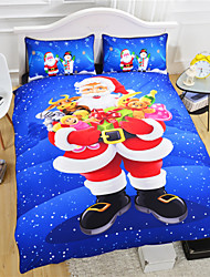 Blue Christmas Duvet Cover Set 3D Bedding Set Santa Claus Twin Full Queen