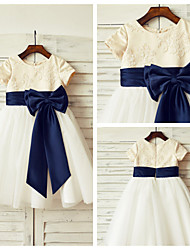 A-line Knee-length Flower Girl Dress - Lace / Satin / Tulle Short Sleeve Scoop with