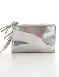 Women PU Casual Clutch Clutch - Brown/Silver