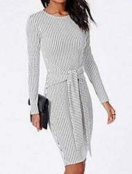 CEN     Women's Striped White Dresses , Bodycon / Casual / Party Round Long Sleeve