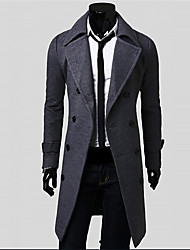 Thickening Male Wool Double Breasted Wool Coat Plus Size Long Design Eool Coat
