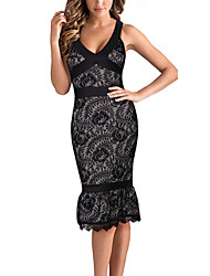 Women's Fashion Sexy Deep V Neck Sleeveless Lace Dress