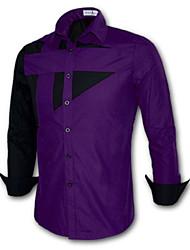Мужской В клетку / Однотонный Рубашка На каждый день / Для офиса / Большие размеры,Смесь хлопка,Длинный рукав,Черный / Фиолетовый /