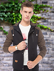 Men's Long Sleeve Jacket , Cotton Casual / Work / Formal Pure
