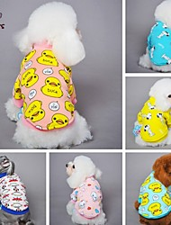Cat / Dog Shirt / T-Shirt / Pajamas Yellow / Blue / Pink / Gray Dog Clothes Summer / Spring/Fall Cartoon Cute / Casual/Daily