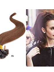 """18 """"-30"""" 1g / s 100g / pack brasileño virginal extensión del pelo de punta queratina del cabello / uñas # 1b negro natural"""