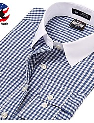 U&Shark Men's British Style Navy Long Sleeve Shirt with  Embroidery  Logos  and White Collar and Blue Check &Grain