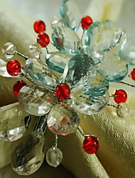Acrylic Flower Napkin Ring, Acrylic, 1.77Inch, Set of 12