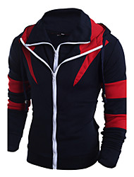 Uonuode Man'S spell Color Double Zipper Slim Korean Men Hooded Cardigan Sweater