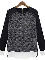 Informell Rund - Langarm - FRAUEN - T-Shirts ( Kunstseide )