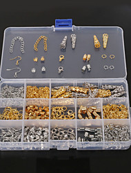 Beadia 1Set Jewelry Findings Lobster Clasp&End Cap&Jump Rings&Crimp Beads&Extension Chain (Aprx 800Pcs)