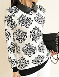 Women's Double Lapel Print White/Black Pullover , Casual Long Sleeve