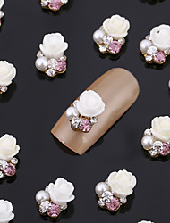 New 20PCS Nail Art Jewelry Pinkie Rose Nail Decorations Alloy Rhinestone Aryclic Nails Nail Tips Decorations
