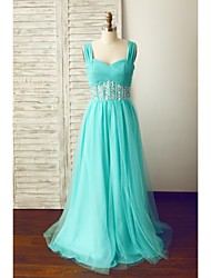 Formal Evening Dress A-line Straps Floor-length Chiffon / Tulle with Beading / Criss Cross