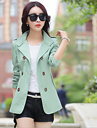 Women's Solid Short Double-breasted Trench Coat , Casual Long Sleeve Polyester / Cotton Blends