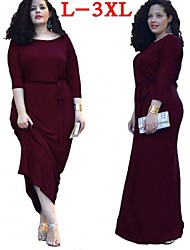 Plus Size (L-3XL)Women's Plus Size Dresses , Vintage / Sexy / Beach / Casual / Cute / Party Round ¾ Sleeve VICONE