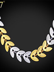 """U7® Women's Two Tone Gold Chain Necklace Trendy """"18K"""" Stamp Gold & Platinum Plated Leaf Shape Charm Necklace"""
