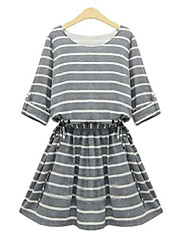 Women's Striped Brown / Gray Dress , Casual Round Neck ½ Length Sleeve