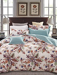 Elegant Floral Bedding Set Of 4pcs Thick Sanding Fabric For Autumn & Winter Seasons Use