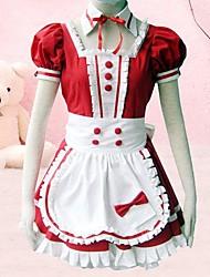 zoete lange mouw vloer lengte rode katoenen gothic lolita jurk