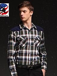 U&Shark New Hot! Men's 100% Cotton Sanded Soft Business Long Sleeve Shirt with Stitching Green-Blue-White Checks/YZMM03