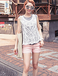 Women's Solid / Lace White Vest , Round Neck Sleeveless