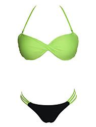 Kvinders Polyester/Spandex Ensfarvet Bikini