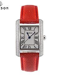 damson® moda retro cuero repujado plaza reloj femenino femenino