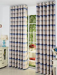 Modern Two Panels Stripe  Living Room Poly  Cotton Blend Panel Curtains Drapes