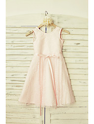 A-line Knee-length Flower Girl Dress - Lace Scoop with Bow(s) Sash / Ribbon