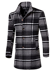 Men's Plaids Casual / Work / Formal Trench coat,Cotton Long Sleeve-Brown / Green / Red / Gray