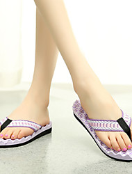 Women's Shoes PVC Flat Heel Flip Flops Slippers Outdoor Pink / Purple